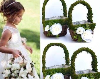 Wedding moss basket, Flower girl Baskets ,Moss Basket , Small Flower Girl Basket, Preserved Moss Wedding Baskets