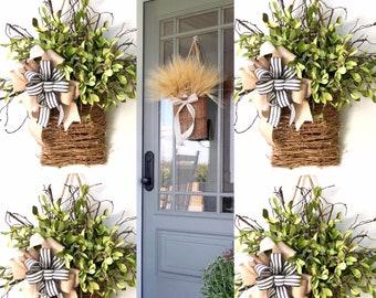 Front door basket wreaths Door Hanger Basket Spring door basket  farmhouse wreaths hanging front door basket front door basket arrangements