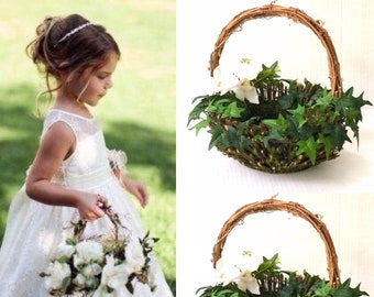 Flower girl baskets, Greenery and flowers wedding basket, Small baskets Wedding , Willow Basket, Greenery  Basket , Baskets for wedding