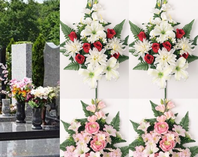 """20 """"Cemetery Flowers for Vase  Artificial Flowers for Cemetery memorial flower vase inserts"""