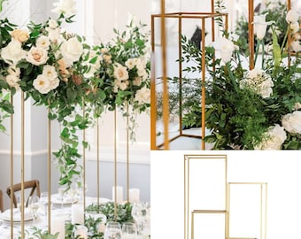 "SALE 24""/32""/40"" Wedding Rectangle Stand, Metal Gold Vase /Geometric vase/ Tall Stand/Metal  Frame vase/ Metal Vase/Metal Riser Set/"