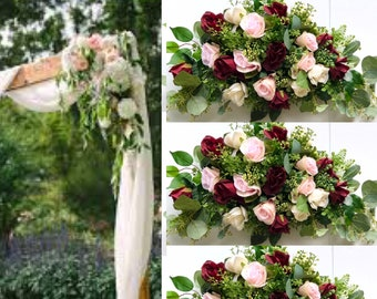 Burgundy Blush Wedding Ceremony Arch , Wedding Arch Flowers, Wedding Archway Flowers, Burgundy Wedding Swags,  Wedding Arbor flowers
