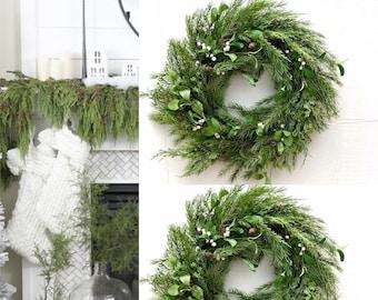 Mistletoe Door Wreath, White Mistletoe Christmas Door wreath, Farmhouse Christmas Decorations, Christmas Mistletoe Decoration Cedar wreath
