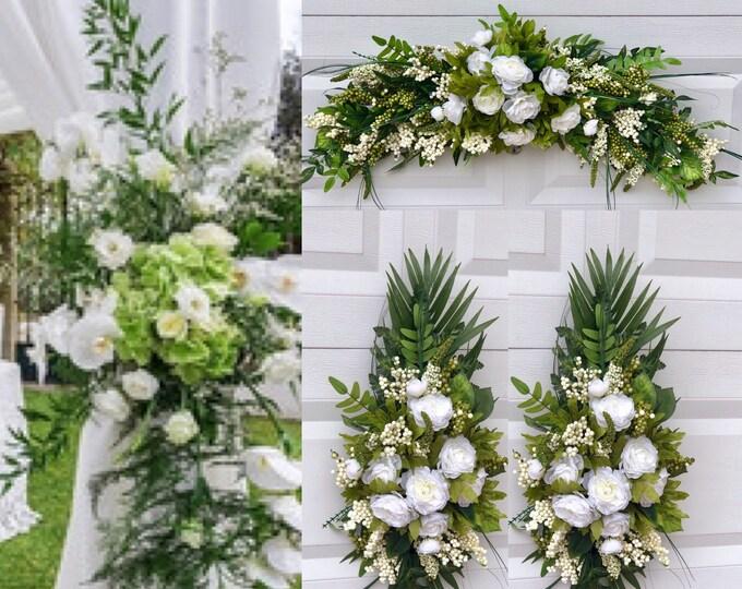 Wedding Arch, Silk Arch Flowers, Wedding Swag, Chuppah Flowers, Wedding arch garland Greenery, Wedding Floral swag