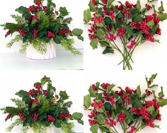 Set 8 Holly berries branches Red berries Holly Branch Christmas Greenery Holiday Gift Wrap, Holly Berry Eucalyptus seeds artificial