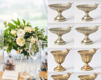 Metal compote bowl Bird planter  pedestal bowl candy dish fruit bowl compote vase Distressed Gold Metal Compote Bowl wedding vase compote