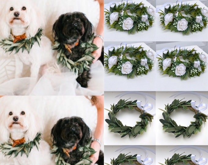 Dog wedding collar, Pet Wedding Attire ,Dog flower crown wreath Dog flower girl Dog collar