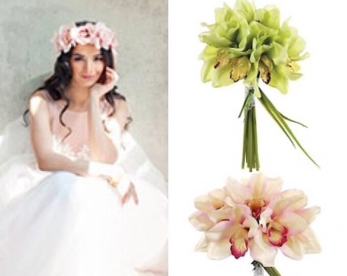 Bridal Bouquet, Orchid bridal bouquet, Pink orchids , Green orchid flowers , Orchid flower arrangement , Bridesmaids Flowers , throw bouquet