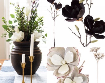 "25""Tall Black Magnolia flower Black artificial flowers Silver magnolia Silk Gold Magnolia Large magnolia flower Artificial magnolia branches"