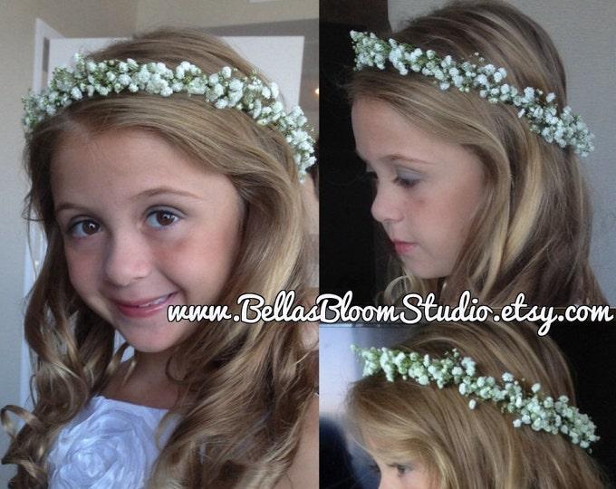 Jane Babys Breath Crown flower girl crown babys breath hair crown White Flower crown toddler, Fresh Flower Crown Flower girl  crown etsy