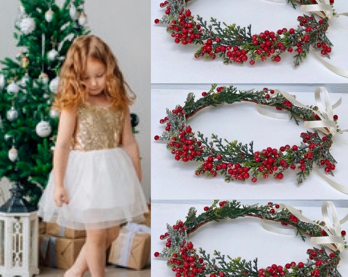Juniper Berry Crown | Child Holiday Crown/ Juniper flower crown | Winter Crown | Holiday Silk Flower Crown | Christmas Crown | Berry crown