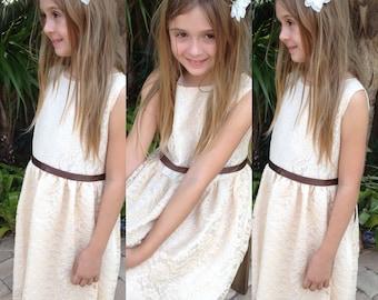 Girls lace dress Girls dresses Flower girl dress, girl lace dress, country lace dress, ivory lace dress,Rustic Flower girl dresses etsy