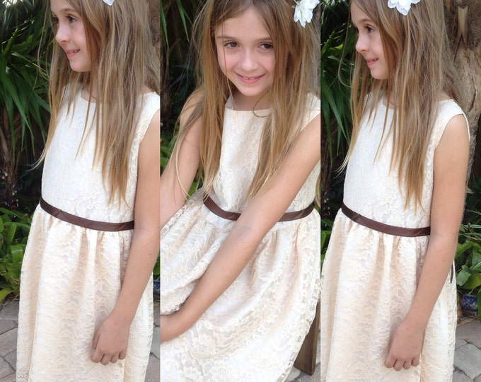 Girls lace dress Girls dresses Flower girl dress, girl lace dress, country lace dress, ivory lace dress,Rustic Flower girl dresses etsy