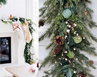 Christmas Eucalypts Pine Garland, Pinecone Christmas Garland, Pine Garland with Pinecones, Christmas garland ,Christmas berry pine garland