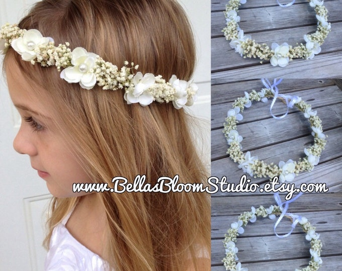 Baby's Breath Crown, Ivory Flowers Crown - Real Dried Floral Hair Wreath, Toddler flower crown ,Rustic floral crown etsy