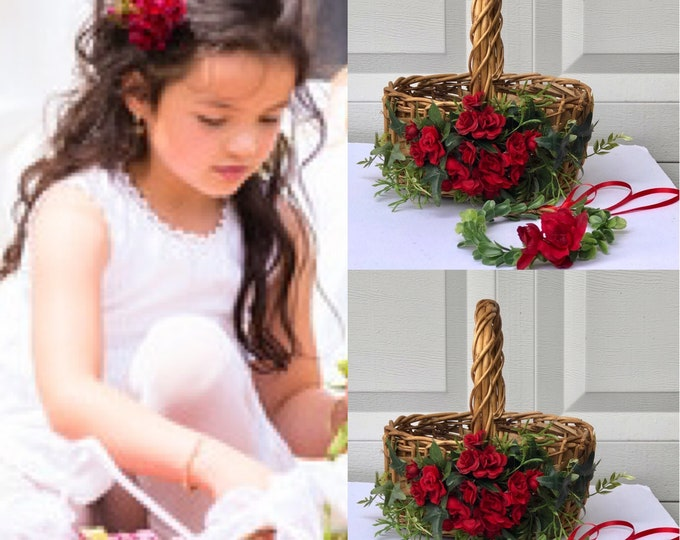 Red flower girl basket/ Burgundy flower girl basket ,Burgundy Ring Bearer ,Flower girl Baskets ,Toss Petal Basket,Rhinestone Flower Baskets