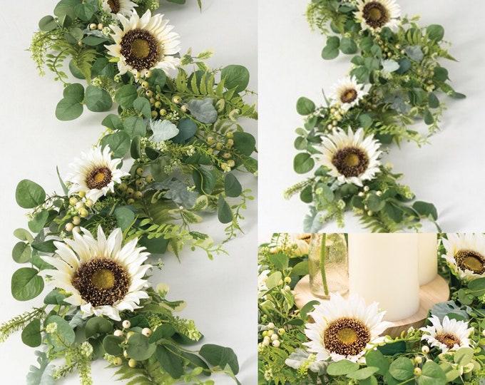 White Sunflower Garland, Eucalyptus Garland, Sunflower Arch flowers , Sunflower Table Runner, Sunflower Centerpiece, Eucalyptus Centerpiece
