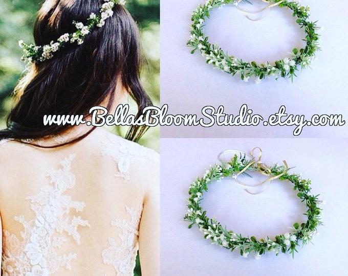 Baby's breath headpiece wedding, Artificial Baby Breath Flower Crown, Baby breath hair crown ,