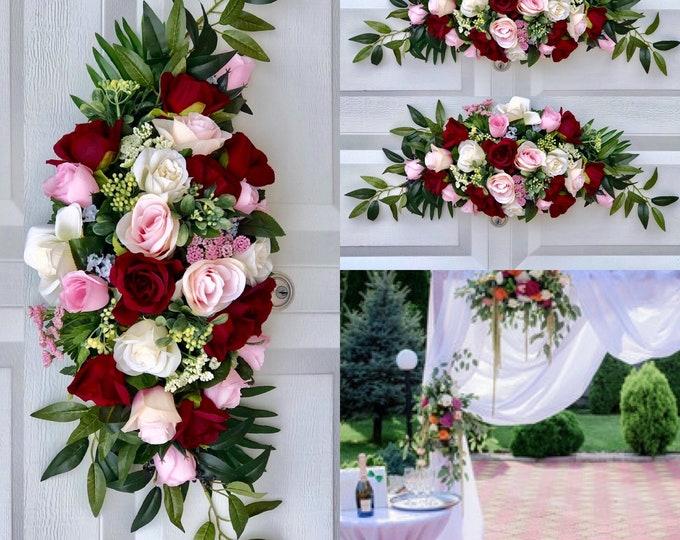 Burgundy Blush Wedding Ceremony Arch , Wedding Arch Flowers, Wedding Archway Flowers, Burgundy Wedding Swags,  Wedding Arbor flowers