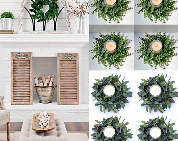 Candle Ring Holder, Eucalyptus Wreath, Greenery Wreath, Small Wreath , Lamb's Ear Wreath, Wedding Decor, Table Decor, Farmhouse Centerpiece