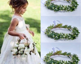 Baby's Breath Flower Crown, Bridal Flower Crown, Bridesmaid Flower Crown,Flower Girl Crown-Flower Crown,Flower Girl Headpiece ,  Bun wrap,