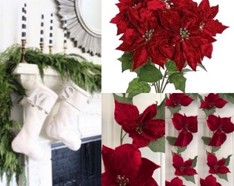 Christmas Poinsettia garland, Christmas Poinsettia ,