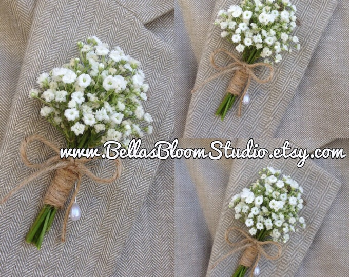 Rustic Boutonniere - Baby's Breath Boutonnieres, mens white boutonniere  Baby's Breath Corsages- Beach wedding - etsy