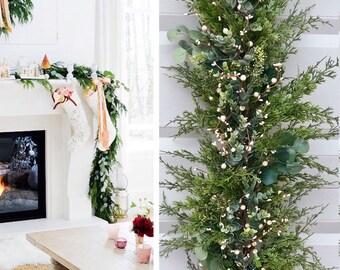 Christmas Garland, Eucalyptus garland, Staircase Garland , Mantle garland,  garland, Christmas Decoration, Mantle Decor , Christmas Swag,