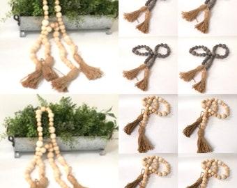 Natural wood bead garland Farmhouse wood bead garland wood bead garland with tassels wooden beads wood bead garland
