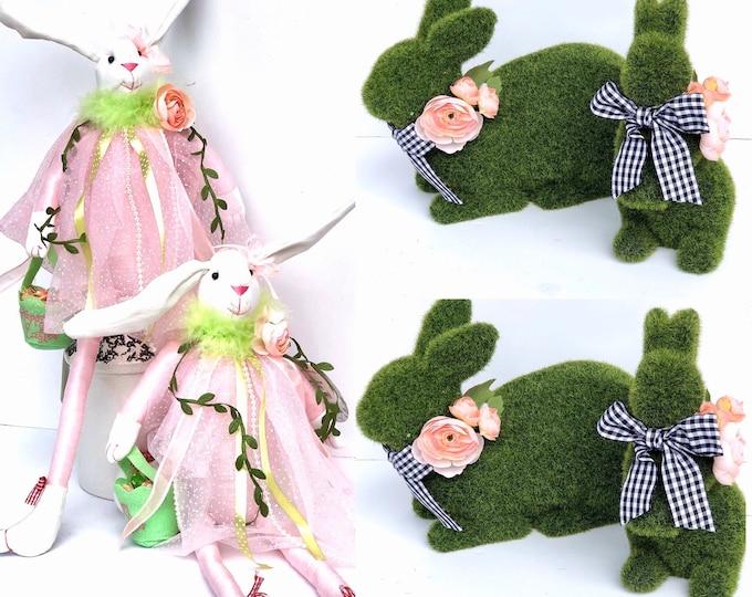 Moss Bunny,Easter Bunny ,Fabric Bunny , Sitting Bunny, Easter Bunny Shelf decor , Sitting Easter Bunny, Linen Easter Bunny, linen bunny doll