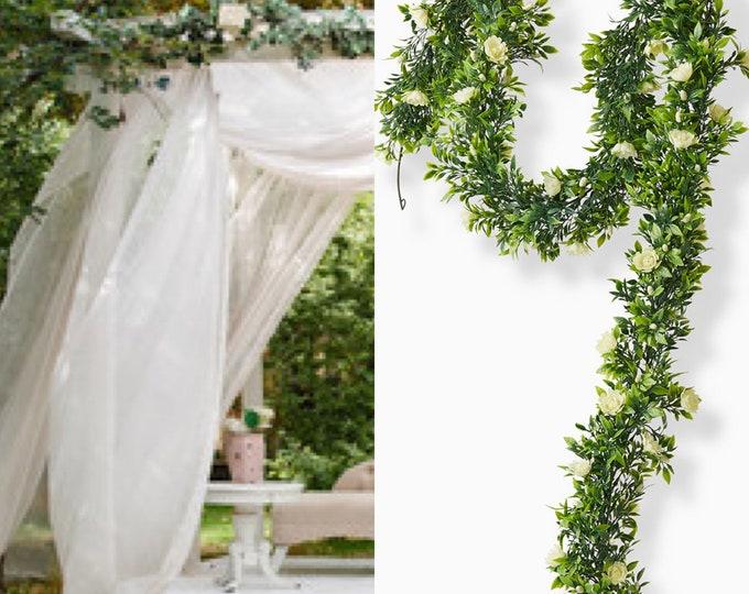 White and Green garland, Jasmine Garland, Gardenia Garland, jasmine flower, gardenia flowers, Gardenia Plant