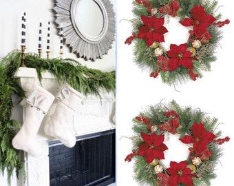 """24 """" Poinsettia door Wreath Ball Ornament Door Wreath Winter Wreath Holiday Wreath for front door,"""