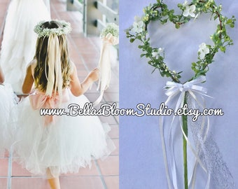 Wedding wands , Flower Girl Wand, Heart Wand Rustic, Flower girl flowers,   Ribbon Wand Etsy