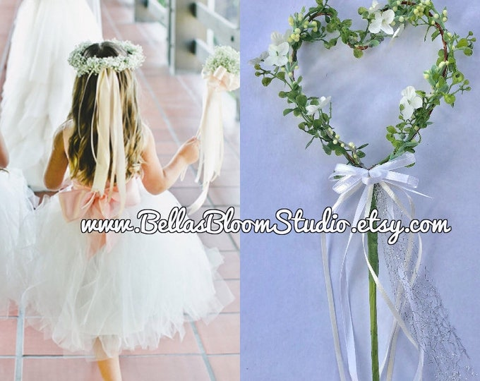 Wedding wands , Flower Girl Wand, Heart Wand Rustic, Flower girl flowers,   Ribbon Wand Etsy