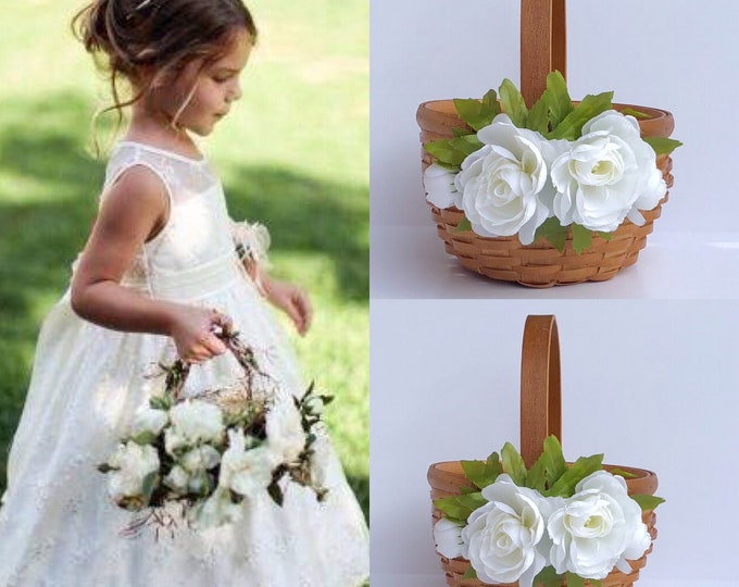 Flower girl Baskets - Rustic  Flower Basket - ivory flower girl baskets- Bohemian wedding, Burlap flower basket, Satin flower basket
