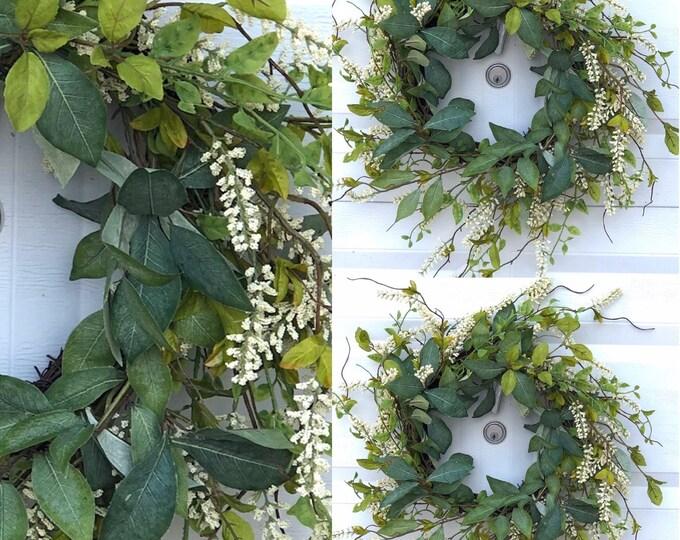 Greenery Door Wreath, Easter Door Wreath,  Eucalyptus Wreath, Farmhouse Wreath, Farmhouse Decor , Wedding Gift, Housewarming Gift