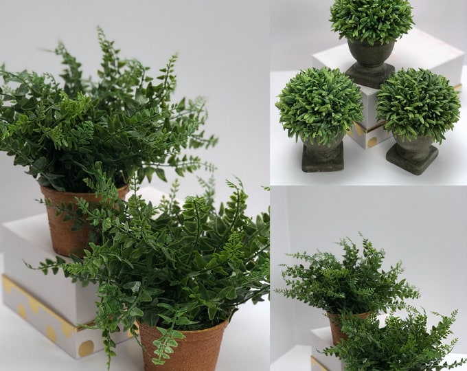 Faux Potted Plants,Fern plant, Farmhouse Greenery,Boxwood Centerpiece, Table Decor, Boxwood Topiary Rustic centerpiece