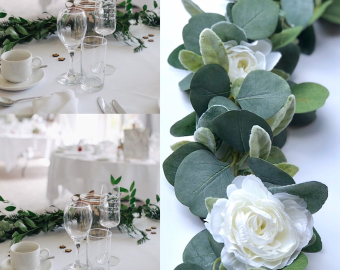 Wedding eucalyptus garland, Wedding greenery garland, Wedding table runner, Flowers for wedding arches , Wedding table flowers , Farmhouse