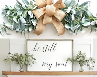 Lambs Ear Swag Farmhouse decor farmhouse greenery swag  farmhouse floral swag  farmhouse wall swag farmhouse decor living room