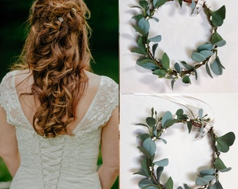 Wedding eucalyptus crown , Flower girl eucalyptus flower crown, Greenery crown,  Greenery headpiece Floral Crown, Greenery crown Etsy
