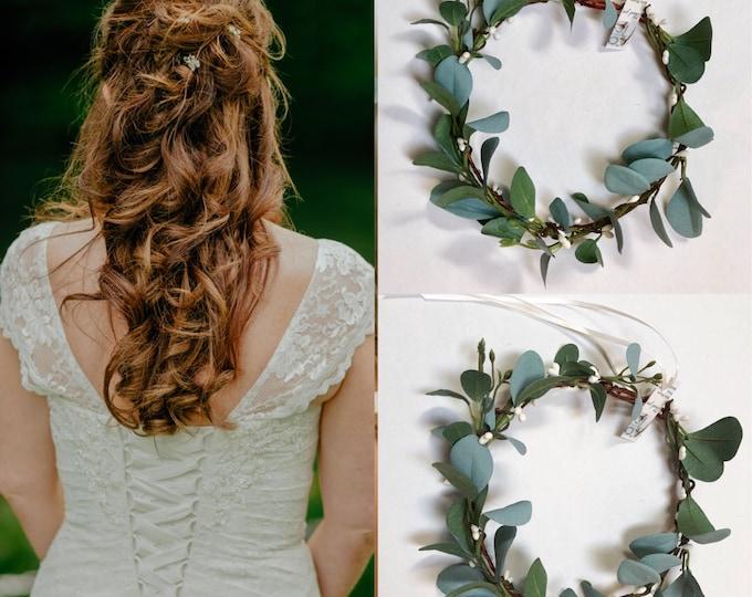 Wedding eucalyptus crown , Flower girl eucalyptus flower crown, Greenery crown,  Greenery headpiece Floral Crown, Greenery crown Etsy