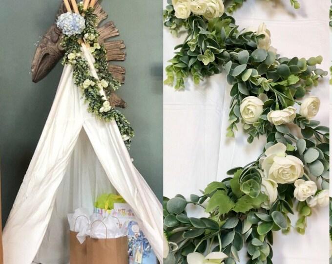 Wedding centerpieces Wedding Garland Greenery Garland Arbor Swag, Wedding Arch Swag,  Wedding Garland, Church Swag, Rustic Wedding Swag,