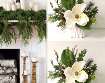 Christmas Mixed Floral Arrangement Woodland Winter Arrangement  Rustic Christmas Centerpiece Hostess Gift Christmas Farmhouse Christmas