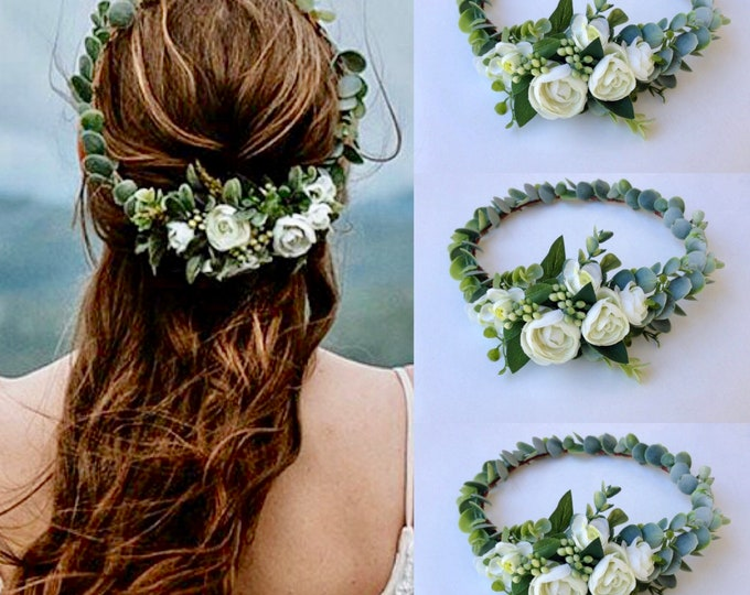 Succulent Crown  Greenery Crown  Eucalyptus crown  Adult flower crown  Cream Flower crown Succulent Succulent Bridal Halo Etsy