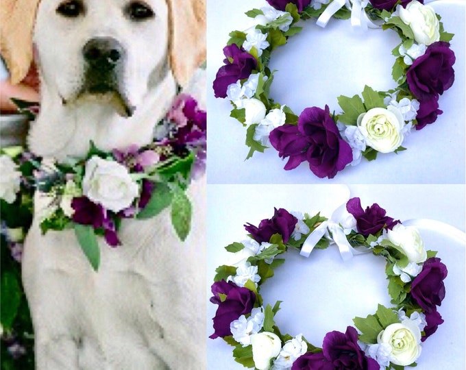 Dog Of Honor Dog wedding collar Pet Wedding Attire Dog flower crown wreath Dog flower girl Dog collar purple dog collar etsy wedding