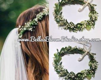 Dried Baby's Breath Crown, Flower Crown greenery, baby's breath flower crown, Boho Wedding, Greenery Crown, Wedding Crown Eucalyptus crown
