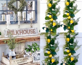 Lemon Garland,Lemon Farmhouse Decor, Lemon Kitchen Decor, Farmhouse Fruit  Decor, Lemon leaves garland, Lemon Decor for kitchen