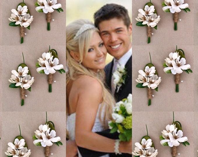 Wedding boutonnière white groomsmen boutonnière Eucalyptus Boutonniere White flower laper pin White buttonhole corsage flowers white