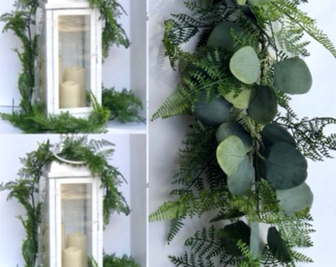 Eucalyptus and fern garland Garland - Wedding Garland - Greenery Garland -Spring eucalyptus garland,  fern garland, Easter garland mantel