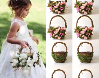 Flower girl basket with flowers
